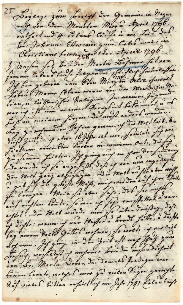 """Erste Seite des Lebenslaufes von Martin Böhmer, der in 1796 in Nazareth/Pennsylvanien verstarb. Über seine Eltern berichtet er, sie """"waren von der Wendischen Nation, u lutherischer Religion."""" (Unitätsarchiv Herrnhut)."""