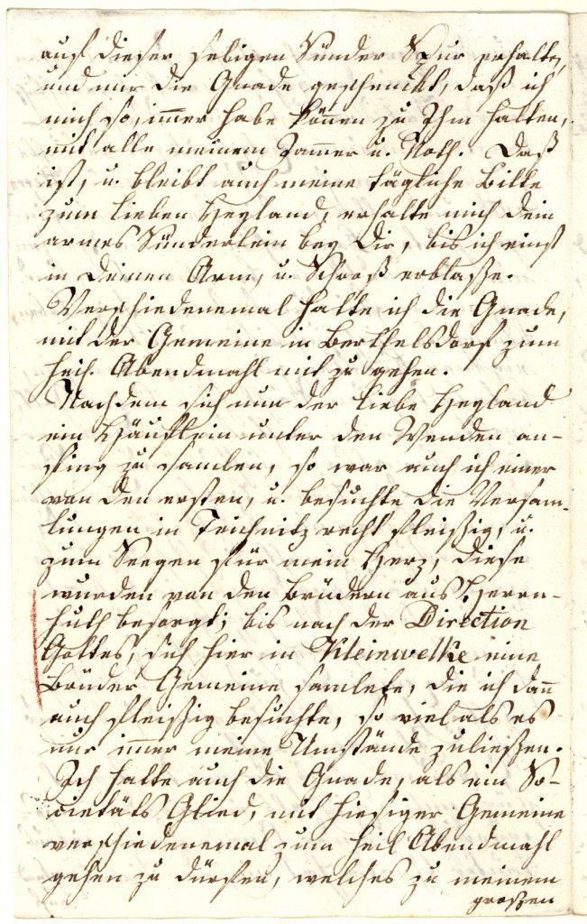 """Vierte Seite des Lebenslaufes von Georg Mittasch (1710–1800). """"Nachdem sich nun der liebe Heyland ein Häuflein unter den Wenden anfing zu samlen, so war auch ich einer von den ersten, u. besuchte die Versamlungen in Teichnitz recht fleißig, u. zum Seegen für mein Herz"""". (Unitätsarchiv Herrnhut)."""