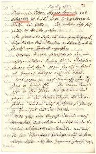 Prěnja strona žiwjenjoběha Agnes Sauer, kotraž zemrě 1783 w Niskej (Archiw Ochranowskeje wosady).