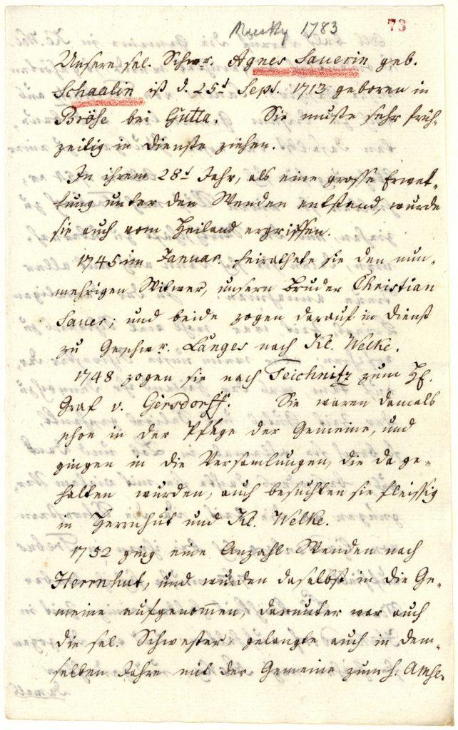Erste Seite des Lebenslaufes von Agnes Sauer, die 1783 in Niesky verstarb. (Unitätsarchiv Herrnhut).